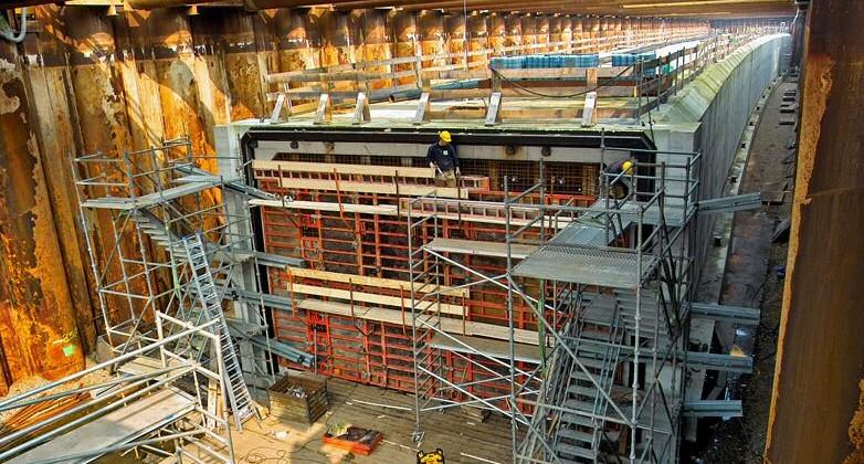 metro caisson in bouwkuip